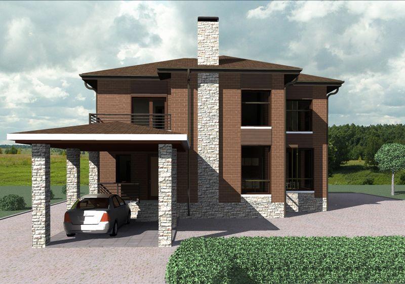 Жокей C-212. Проект современного двухэтажного дома на 4 спальни, с террасой и навесом для авто