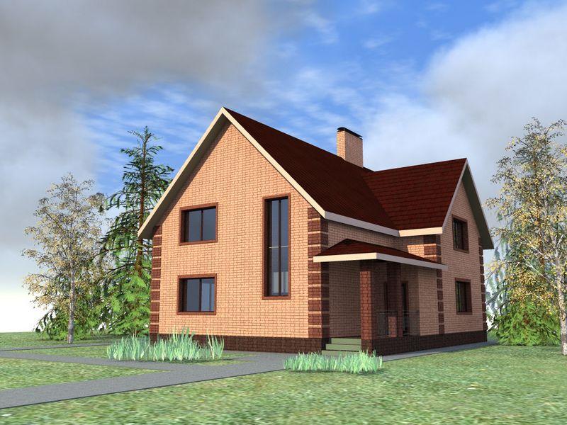 ЗЛАТ D-053. Проект простого мансардного коттеджа на 3 спальни, с кабинетом и террасой