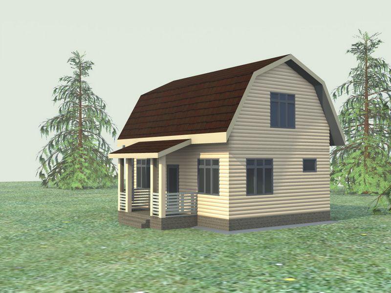 Зодчий A-031. Проект простого дома с мансардой на 2 спальни