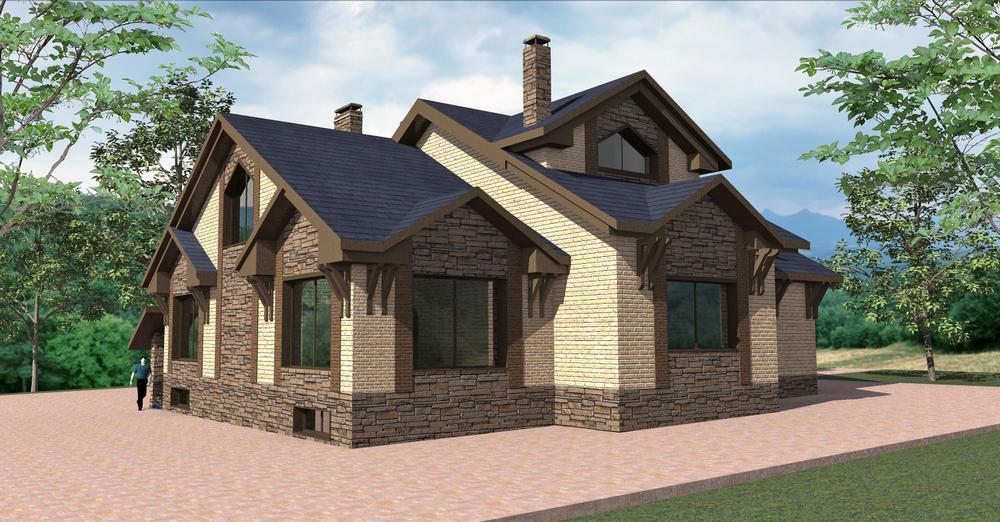 Золотое сечение F-066. Проект дома с мансардой, четырьмя спальнями, цокольным этажом и гаражом