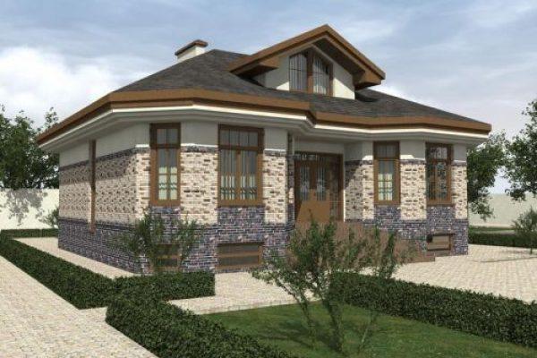 Проект одноэтажного дома с мансардой и цокольным этажом, 3 спальни и гостиная D-097